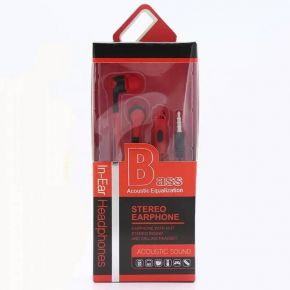 Ακουστικά Bass Acoustic Equalization Stereo Earphone Κόκκινο
