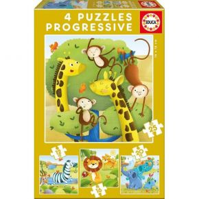 Educa Παζλ 12/16/20/25 τεμ. Progressive 4 Puzzles Wild Animals