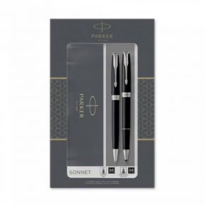 Parker Set Κασετίνα Δώρου Στυλό Sonnet Core Duo Laque Black PT Ballpoint & Rollerball
