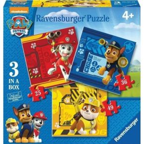 Ravensburger Παζλ 3 In A Box Paw Patrol 25, 36 & 49 τεμ