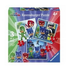 Ravensburger Παζλ 3 In A Box PJ Masks 25, 36 & 49 τεμ