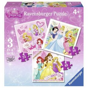 Ravensburger Παζλ 3 In A Box Princess 25, 36 & 49 τεμ