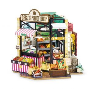 Robotime Ξύλινο Puzzle 3D Carl's Fruit Shop Happy Corner DIY Dollhouse DG142