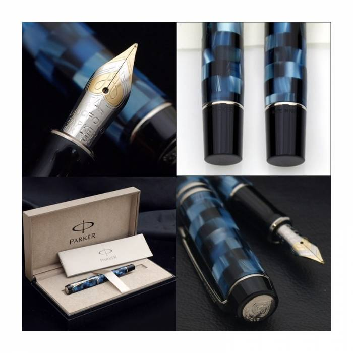 Parker Duofold Check Blue PT (Platinum Trim) Demi Size Fountain Pen