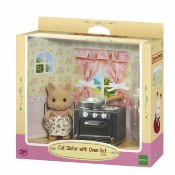 Sylvanian Families 5140 Cat Sister With Oven Set