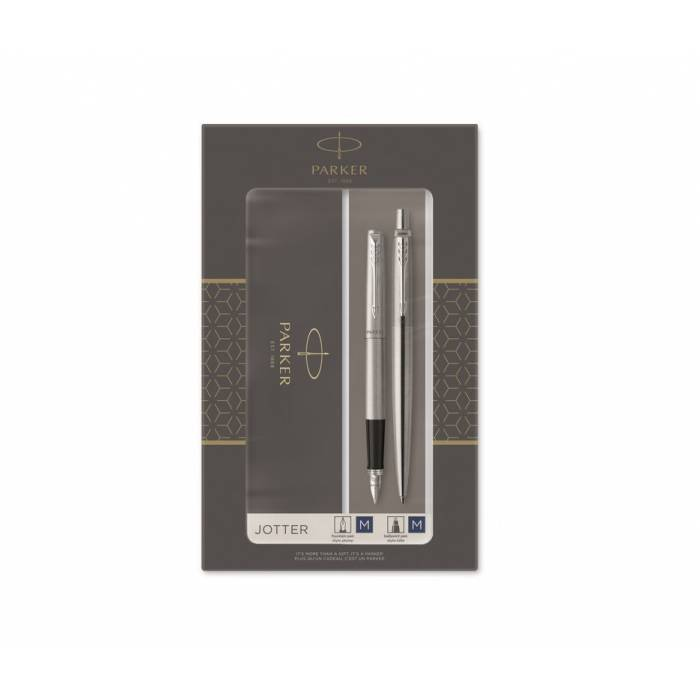 Parker Set Κασετίνα Δώρου Στυλό Jotter Core Duo Stainless Steel Ballpoint & Πένα Fountain Pen CT