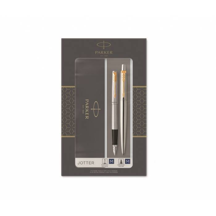 Parker Set Κασετίνα Δώρου Στυλό Jotter Core Duo Stainless Steel Ballpoint & Πένα Fountain Pen GT