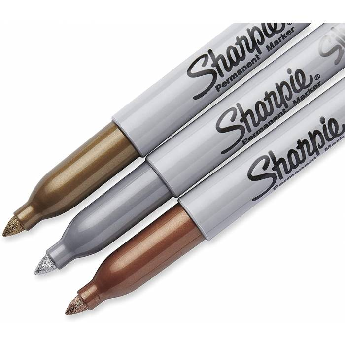 Sharpie Μαρκαδόροι Ζωγραφικής Metallic Permanent Markers Gold-Silver-Bronze Fine 0.9mm Blister 3 Τεμ.