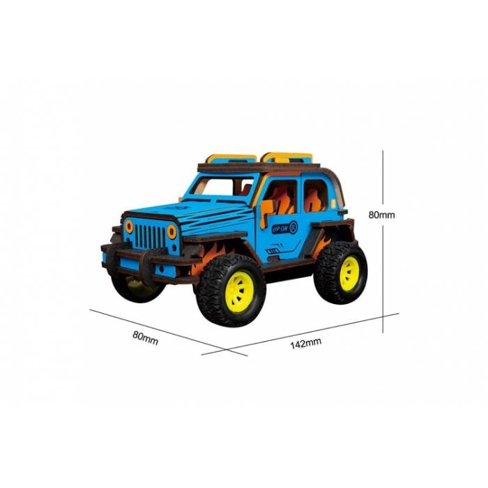 Robotime Ξύλινο Puzzle 3D Inertia Power Vehicles Off-Road Jeep