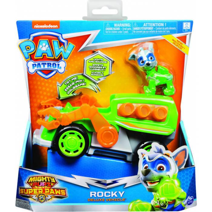Spin Master Paw Patrol : Mighty Pups Super Paws - Rocky Deluxe Vehicle