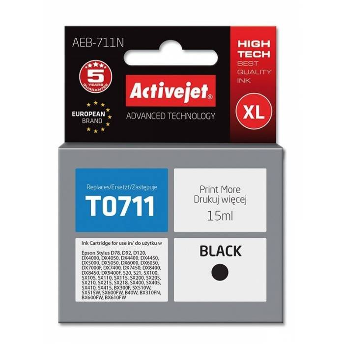 Activejet Μελάνι Epson T0711 XL Black