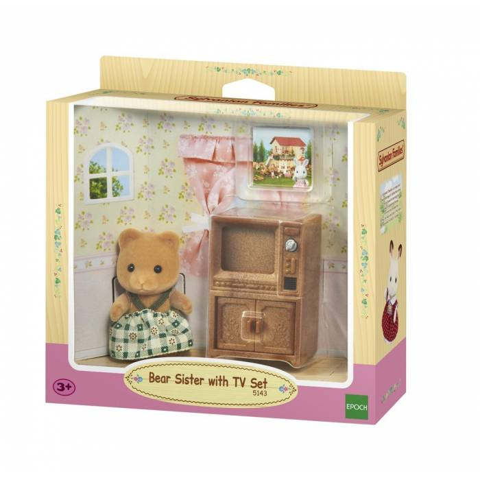 Sylvanian Families 5143 Bear Sister With TV Set